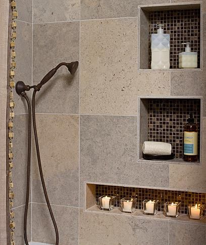 another good example of mosaics in built in shower shelf. Black Bedroom Furniture Sets. Home Design Ideas