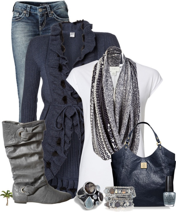 """""""Tee, Cardigan and Jeans"""" by cindycook10 on Polyvore"""
