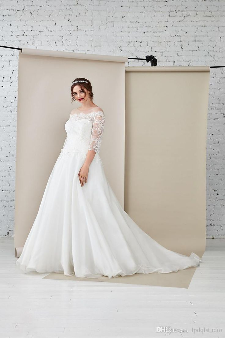 Romantic Plus Size Wedding Dresses Organza Sheer with Floral Lace Three Quarter Sleeves Court Train Wedding Gowns Vestidos Festa Wedding Dresses Wedding Dresses Vestidos Festa Online with $159.0/Piece on Lpdqlstudio's Store   DHgate.com