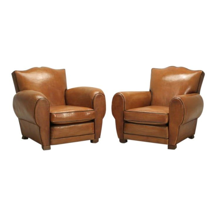 French Club Chairs Original Leather Restored