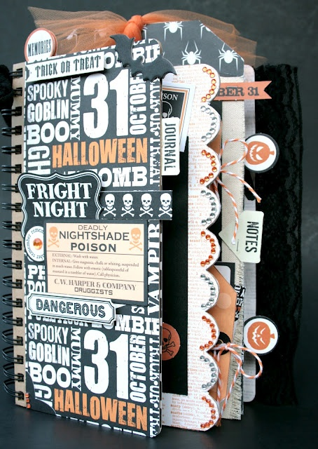 Halloween Mini Album Kit - using Teresa Collins Haunted Hallows. This Kit has 6 pages - 12 front, back and covers. Includes chipboard pages, acrylic, and canvas pages, detailed photographed instructions. Each page is pre-cut, embellishments, tabs, tags, ribbons all included.