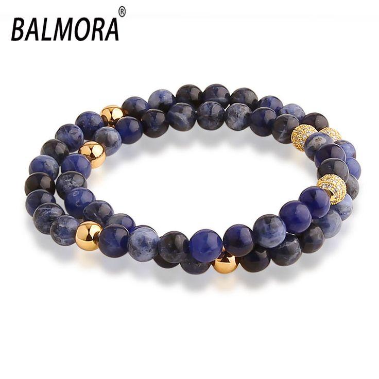 New Trendy Bracelets Lapis Lazuli & Gold Plated 6mm Beads about 36cm Long Stretch Bracelets for Men Women JWJDPUB025