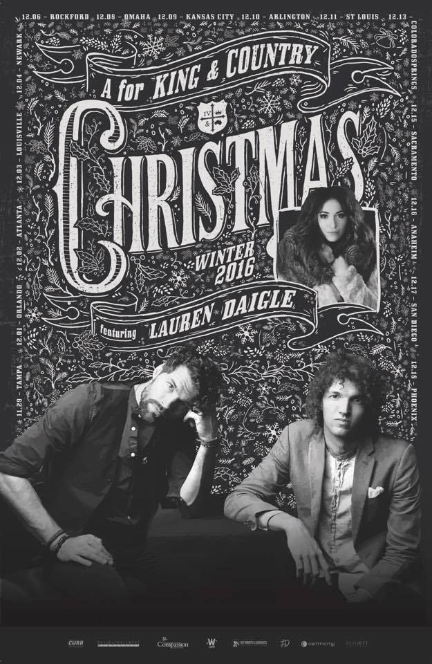 A for KING & COUNTRY Chrtistmas featuring Lauren Daigle, Saturday December 3rd, Southeast Christian Church Blankenbaker Campus-tickets on sale now: https://www.southeastchristian.org/events/a-for-king-country-christmas/