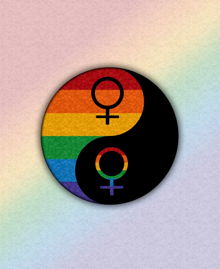 Rainbow colored Lesbian pride yin and yang with male gender symbols. Red…