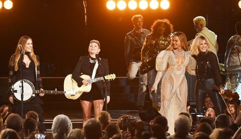 Beyonce performs onstage with Emily Robison and Natalie Maines of Dixie Chicks at the 50th annual CMA Awards at the Bridgestone Arena on November 2, 2016 in Nashville, Tennessee.