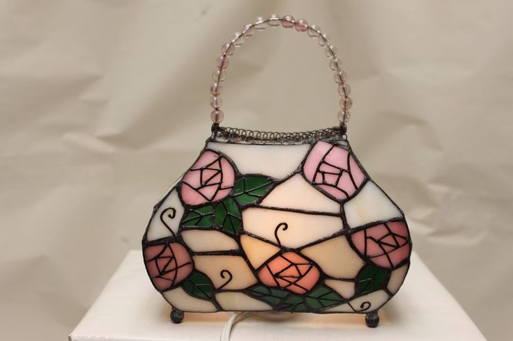 Novelty Lamp – Stain Glass Purse – Pink Flowers with Beaded Strap – Dresser Lamp