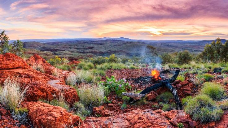 A mid-winter Pilbara sunset from a vantage point on Mount Newman, Western Australia