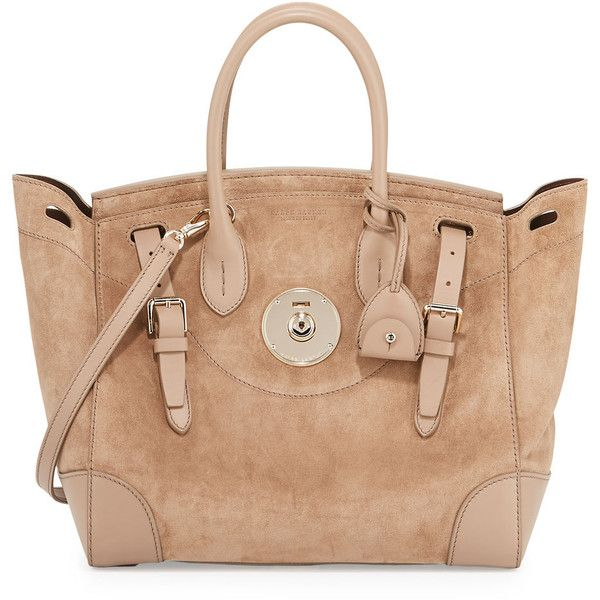 Ralph Lauren Soft Ricky 33 Suede Satchel Bag ($3,250) ❤ liked on Polyvore featuring bags, handbags, handbags top handle bags, taupe, ralph lauren handbags, ralph lauren tote, tote handbags, suede handbags and beige purse