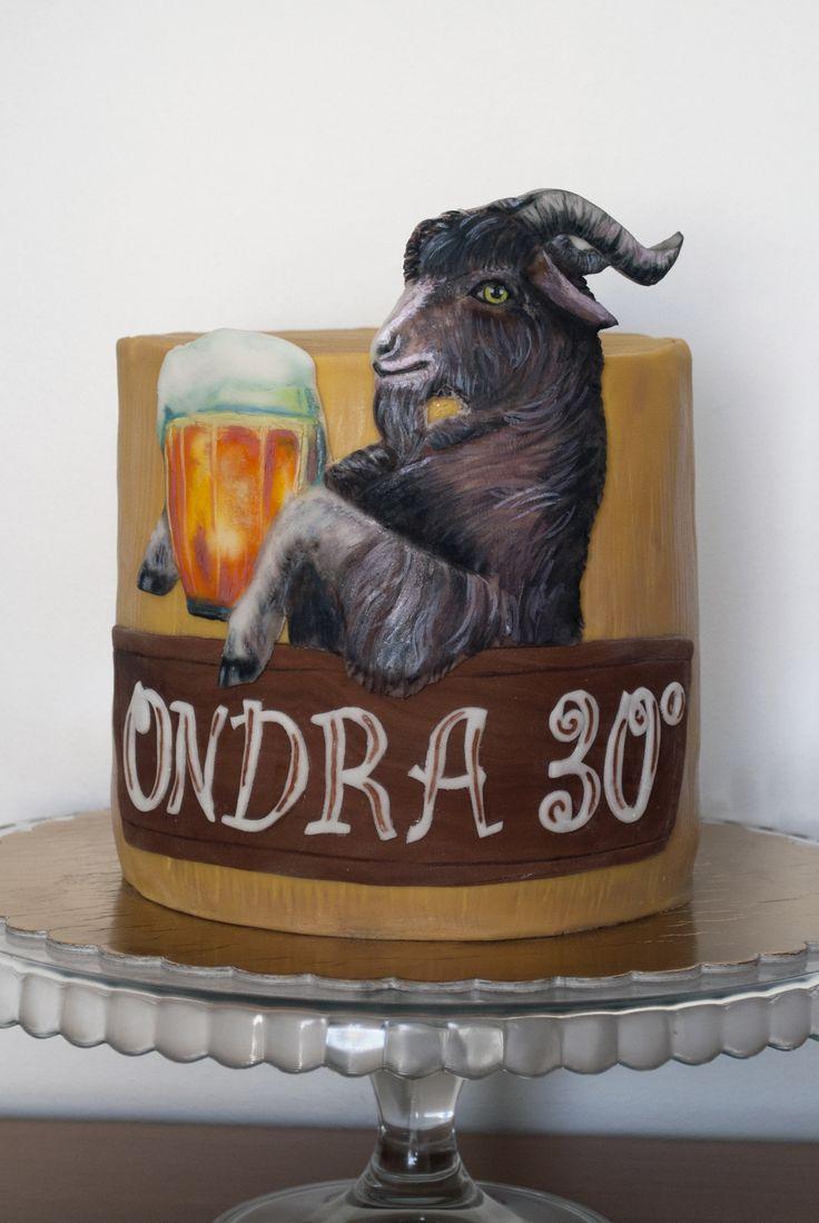 Dort pro milovníka piva Kozel - Kozel ruční malba na fondánu :-)  Cake for Beer Kozel (Goat) Lover - handpainting on fondant.