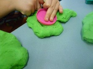 Hard g is for green glittery play dough