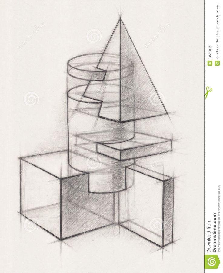 Pix For > Geometric Shape Drawing | учебный рисунок
