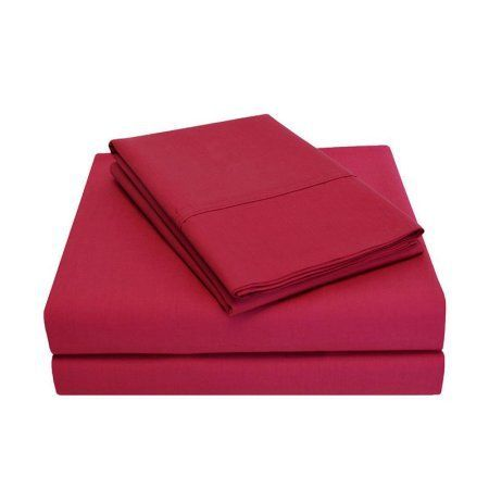 Superior Percale Cotton 300 Thread Count Solid Sheet Set, Red