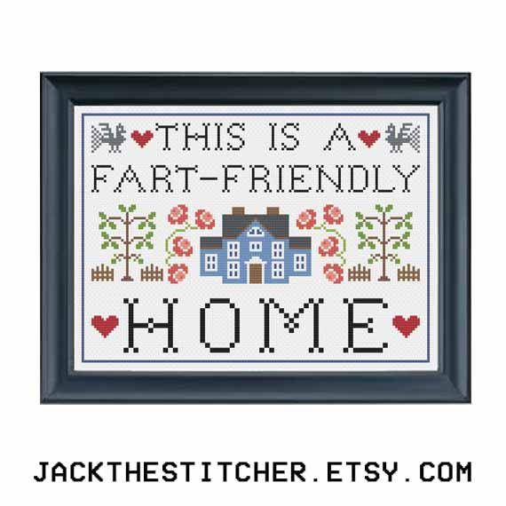 PDF ONLY This is a Fart-Friendly Home Subversive Modern Cross