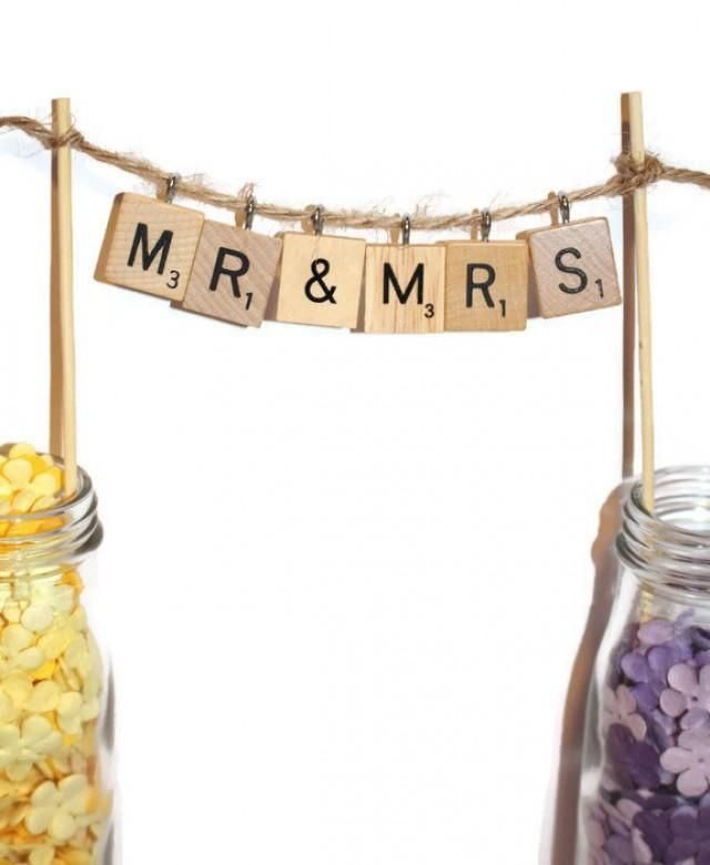 Weddbook is a content discovery engine mostly specialized on wedding concept. You can collect images, videos or articles you discovered organize them, add your own ideas to your collections and share with other people | These Mr & Mrs Scrabble cake toppers are perfect for any wedding or anniversary cake! Be sure to pick which twine color you would like at checkout! Included: * Scrabble Letters with hooks *1 twine string measuring about 15 inches *2 bamboo sticks measuring 8 inches Scr...