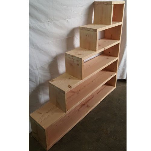 Solid Pine Wood Custom Made Stairs For any Bunk or Loft Bed. Plenty of storage space for Books or anything else. Easy to assemble. Available in Twin, Full, Queen or any custom size. Call for price on custom size. Solid wood drawers are also available. Assembly is required.  Lifetime Warranty. Fully insured and Bonded. (Most Other Companies Are Not). Proud to be American Made.  Twin Size: 44 In.(L) x 44 In.(H) x 11-1/2 In.(D). The Height of Each Stair is 9 In.   Bonus Feature, shipped fully…
