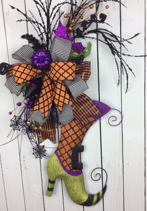 Witch boot wreathHalloween witch Wreathwitch boot door by Keleas