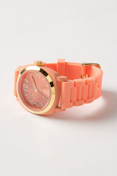 Watch obsession.: Coral Watch, Fashion, Viscid Watch, Style, Gold Watch, Color, Jewelry, Watch Anthropologie, Watches