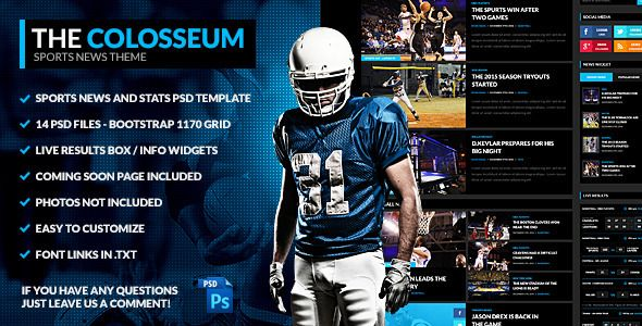 The Colosseum - Sports Magazine PSD Template - Entertainment PSD Templates