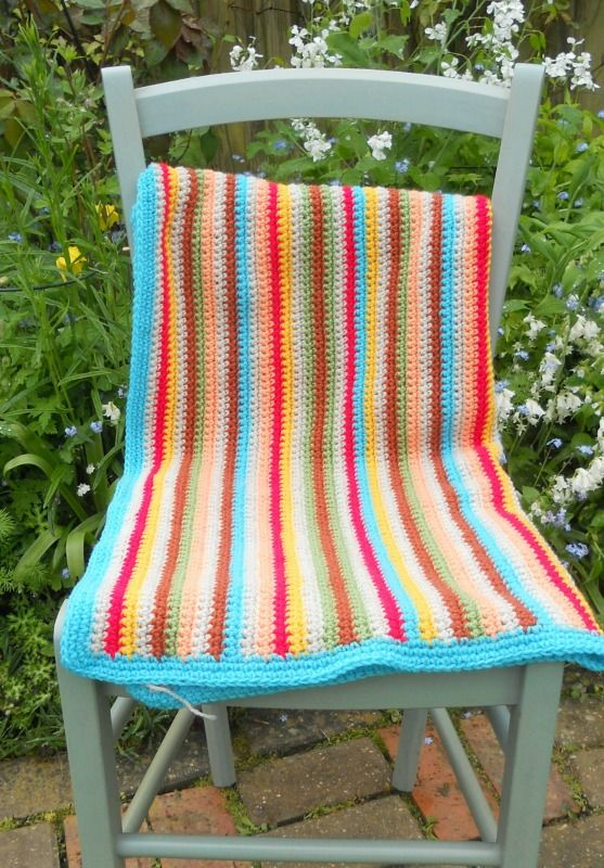 NEW HAND-MADE STRIPED CROCHET GRANNY BLANKET FOR BABY NOW ON MY EBAY SITE ~ LUBBYDOT1