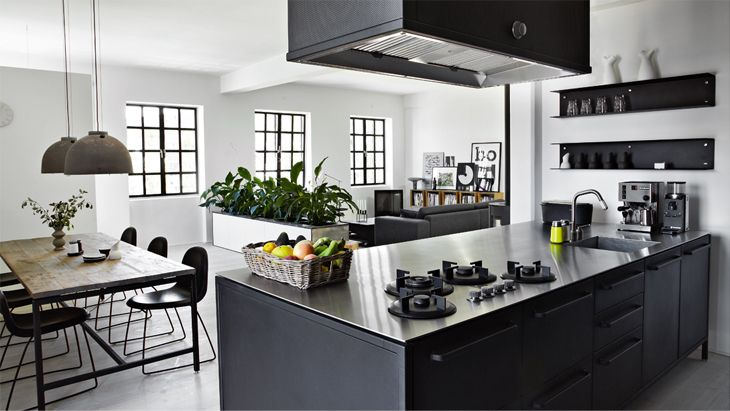 Black, white & wood kitchen interior