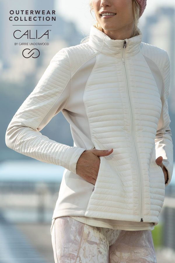 cce82d48d From grabbing coffee to heading to the gym, the CALIA™ by Carrie Underwood Full  Zip Puffer Hybrid Jacket provides fashionable warmth. Wate…