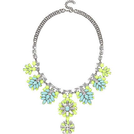 Green gem stone statement necklace £22.00