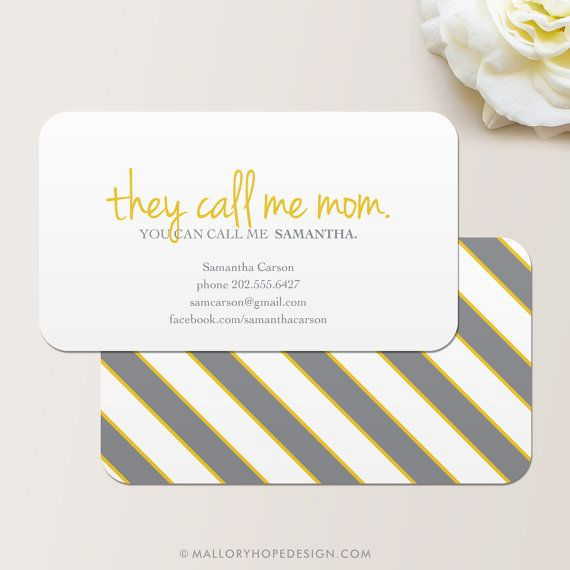 They Call Me Mom Business Card / Calling Card / Mommy Card ©MalloryHopeDesign.Etsy.com