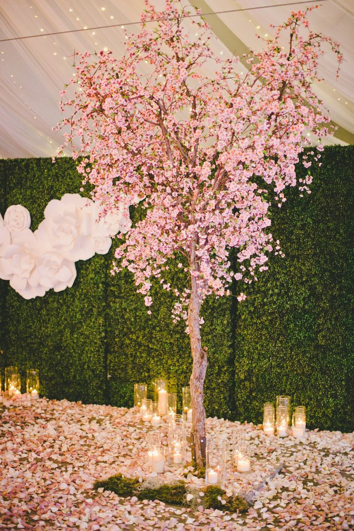 Cherry Blossom Tree and Candles | The Little Branch | Kat Keane Weddings & Events https://www.theknot.com/marketplace/kat-keane-weddings-and-events-west-hollywood-ca-879789 | onelove photography https://www.theknot.com/marketplace/onelove-photography-danville-ca-223204