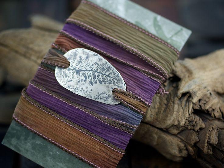 Silver and silk wrap bracelet