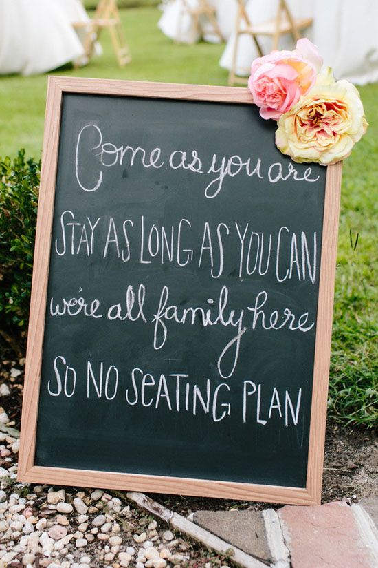 As two families become one, ask your guests to pick a seat, not a side!