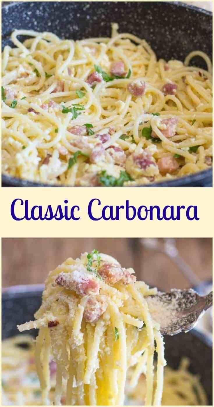Authentic Pasta Carbonara Recipe   YellowBlissRoad.com  Delicious Pasta Carbonara