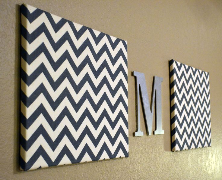 Chevron Monogram Canvas Wall Art Upholstered Chevron Nursery Office Home Decor Wall Hanging Gray Blue Red Yellow Green. $55.00, via Etsy.
