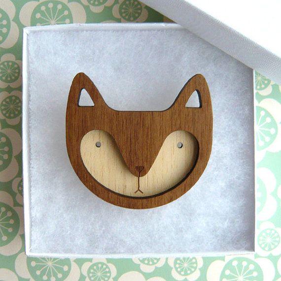 Walnut Wooden Fox Brooch, theboxofbirdsshop