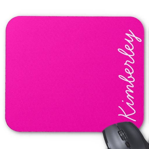 Colorful Pink Neon Monogram Trendy Fashion Colors Mouse Pad by girly_paradise