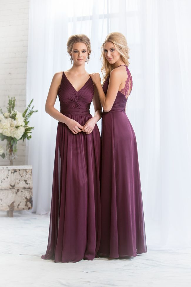 Amazing new autumn bridesmaid dresses from Jasmine Bridal in plum colour.