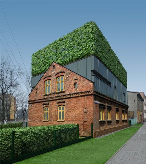 This concept by Zawelski Architecture Group literally raises the roof of an aging brick house with a sandwich of elements that hide a terrace inside the top story