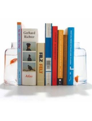 Fish Bowl Tank Flower Vase Decorative Jar Book Holder Halve Fishbowl Bookend  Set from DCI