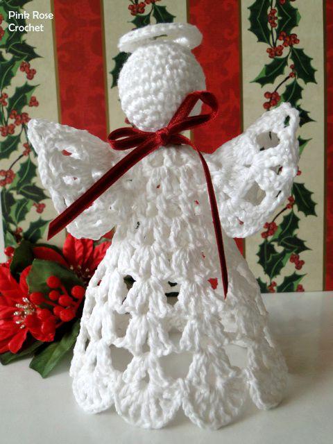 \ PINK ROSE CROCHET /: Anjo Enfeite de Natal  - Crochet Shelf Angel