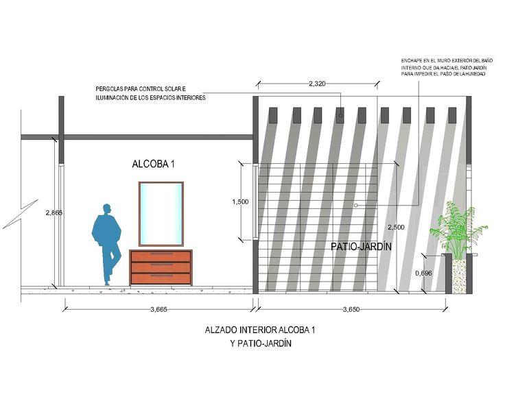 Alzado interior (alcoba y jardín interno)