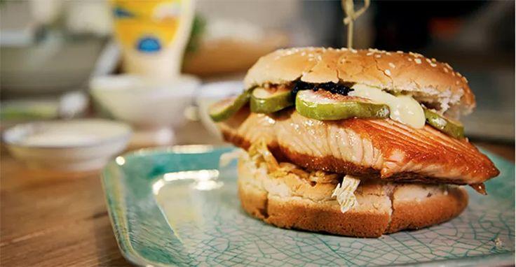 #Hamburguesa salmón #burger #frankfurt