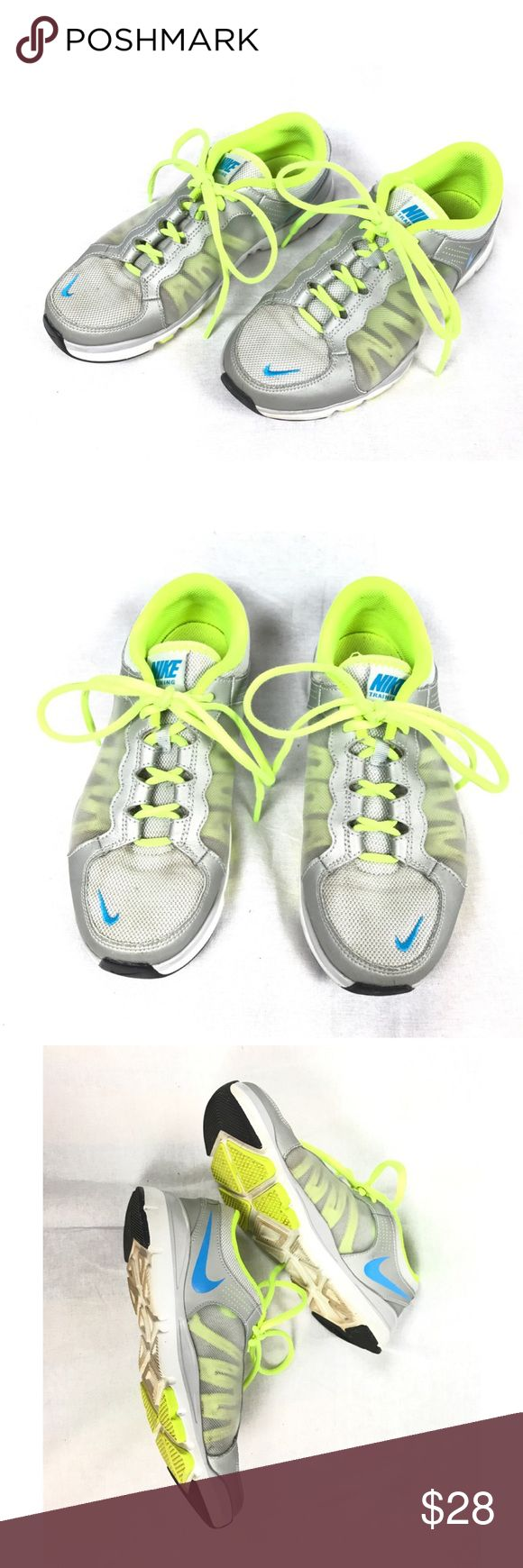 Women's Nike Trainers Size 6.5. Light gray with blue and yellow accents. Some dirt, but only worn outdoors a few times. Great condition. Nike Shoes Sneakers