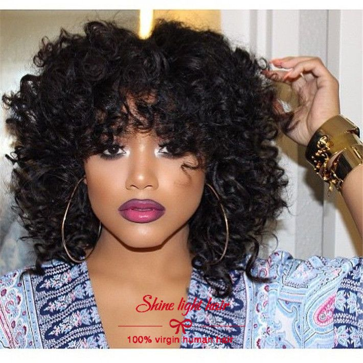 7a grade brazilian short curly lace front wigs with bangs unprocessed glueless human hair short bob wigs with full bangs instock