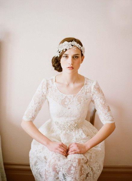 vintage wedding dress w/sleeves :: love! estyau