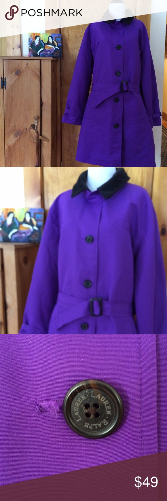 Ralph Lauren Purple Trench Coat 3 X Water resistant poly use in the mist or everyday for a pop of color good clean solid shape for pre owned tiny area around one button where the button hole is a bit frayed but holds closed and isn't structural really nice price for this expensive coat. Ralph Lauren Jackets & Coats Trench Coats