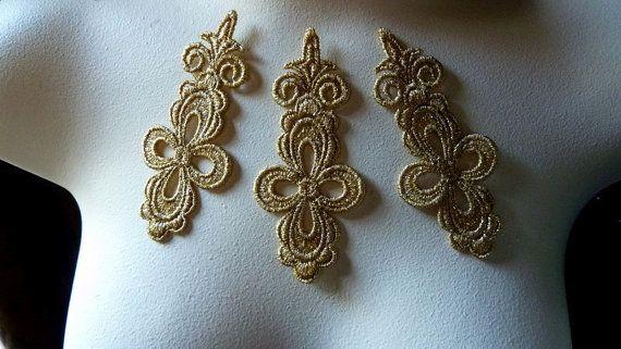 3 Gold Lace Appliques in Metallic Gold Venice Lace for Bridal, Headbands, Jewelry, Costume Design CA 753