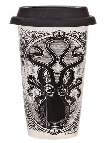 Kraken Up Octopus Travel Mug by Sourpuss Clothing, Home Decor, Ivory,Black