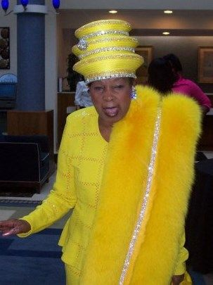 Tiered yellow hat with matching stole