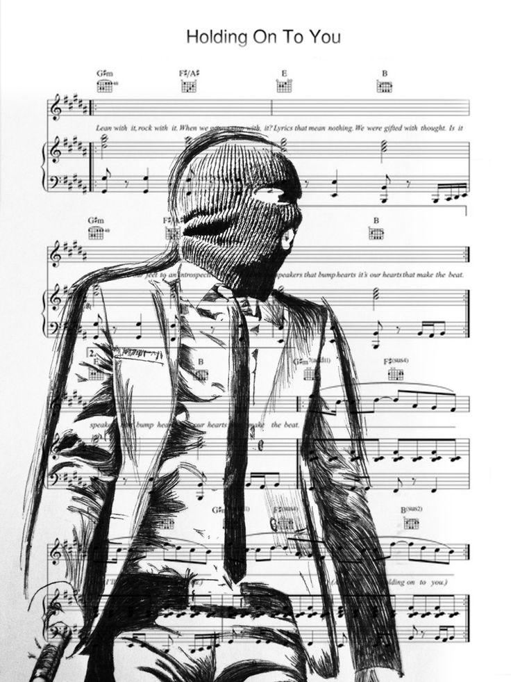 Twenty one pilots fan art. Tyler Joseph ski mask. Sheet music for holding on to you