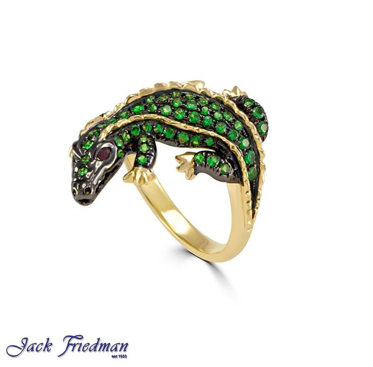 Emerald encrusted crocodile  jackfriedman.co.za