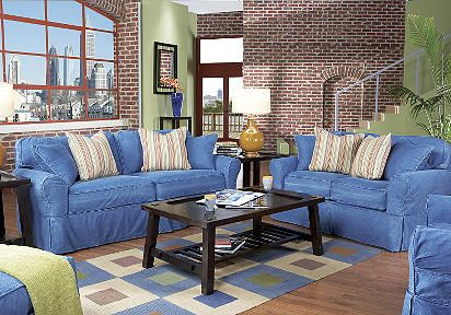 This is my living room set except i have thw red cream for Red denim sectional sofa